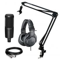 Audio Technica AT 2020 + ATH-M20x + Stand + Cable Bundle