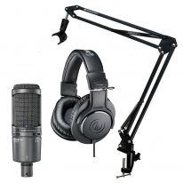 Audio Technica AT 2020 USB+ + ATH-M20x + Stand Bundle