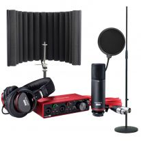 Focusrite Scarlett 2i2 Studio + Reflexion Filter X + Stand + Pop Filter Bundle